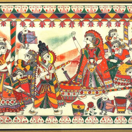 In this painting Krishna is playing holi with his consorts.
